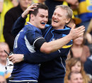 Leinster coach Joe Schmidt embraces fly-half Jonathan Sexton