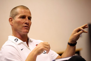 Stuart Lancaster  faces the media at a conference held at Loughborough University