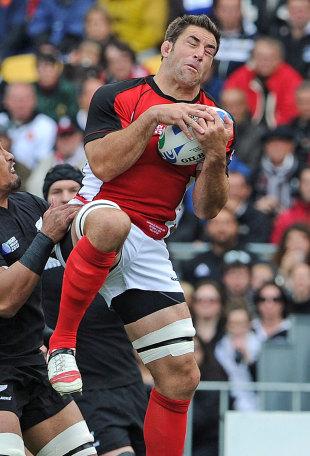 Canada's Jamie Cudmore claims a high ball