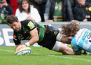 Northampton's Ben Foden dives over the line