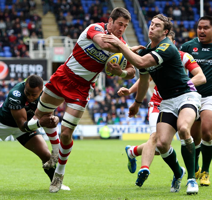Gloucester's Matt Cox draws the London Irish defenders