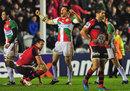 Biarritz' Damien Traille celebrates victory