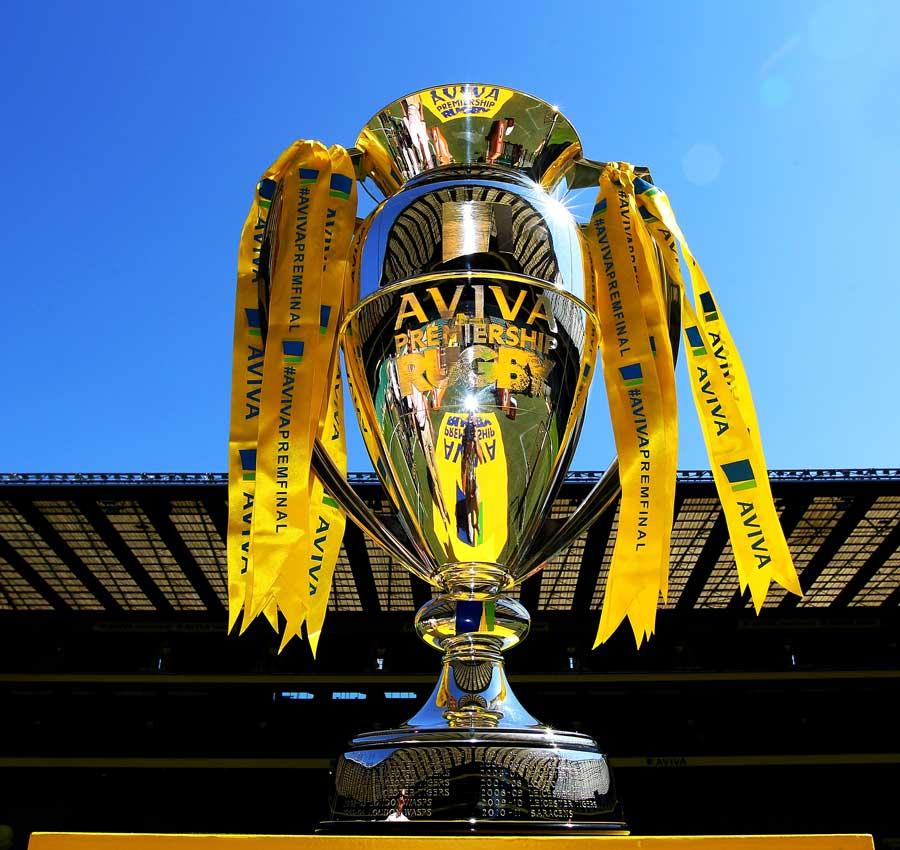 Sunlight glints off the Aviva Premiership trophy