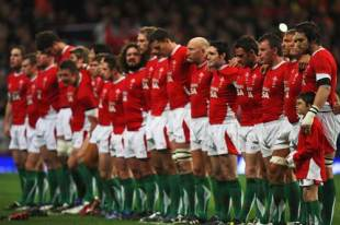 Ryan Jones captain of Wales (R) lines upwith his team for the National Anthems prior to the start of the Invesco Perpetual rugby match between Wales and the New Zealand All Blacks at Millennium Stadium in Cardiff, United Kingdom on November 22, 2008