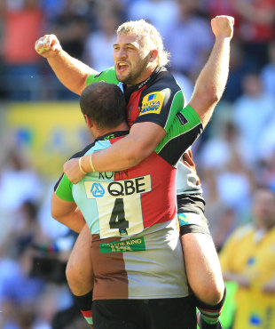 Quins' Ollie Kohn and Joe Marler celebrate victory over Leicester