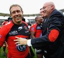 Toulon's Jonny Wilkinson and coach Bernard Laporte celebrate victory