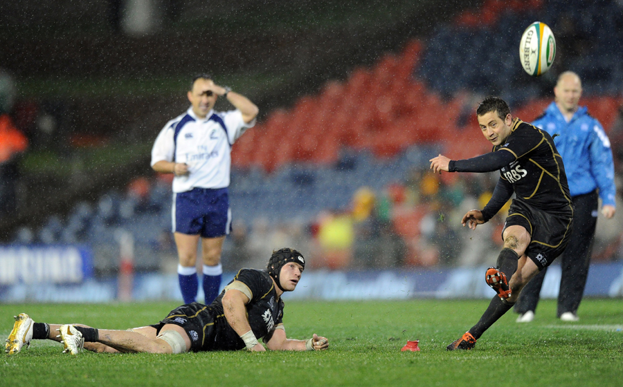 Scotland's Greig Laidlaw kicks the winning points against Australia