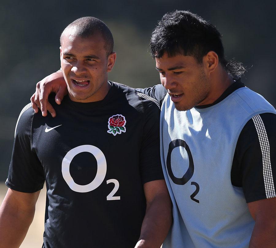 England's Jonathan Joseph and Manu Tuilagi