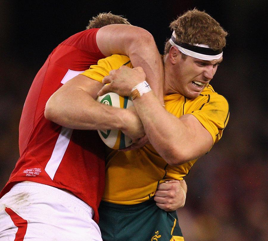 Australia's David Pocock fights to control the ball