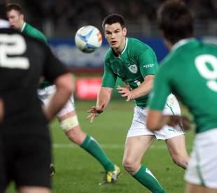 Ireland fly-half Jonathan Sexton waits for the ball, New Zealand v Ireland, Eden Park, Auckland, New Zealand, June 9, 2012