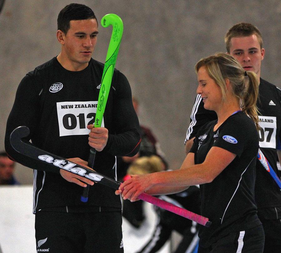 All Blacks centre Sonny Bill Williams and New Zealand women's hockey player Ella Gunson