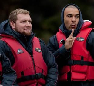 Ireland's Brett Wilkinson and Simon Zebo prepare for jet boating