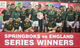 The Springboks celebrate their series win