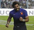 France's Yoann Huget celebrates scoring a try