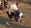 England's Chris Robshaw helps out at a coaching clinic