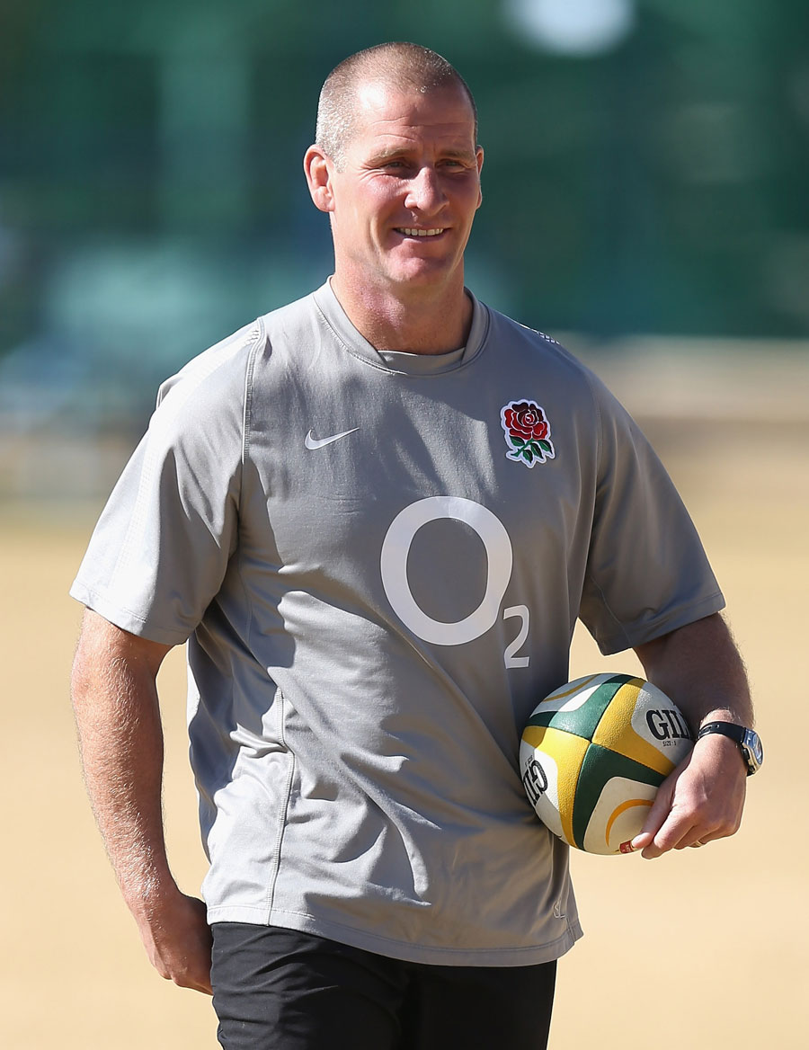 England head coach Stuart Lancaster is all smiles at training