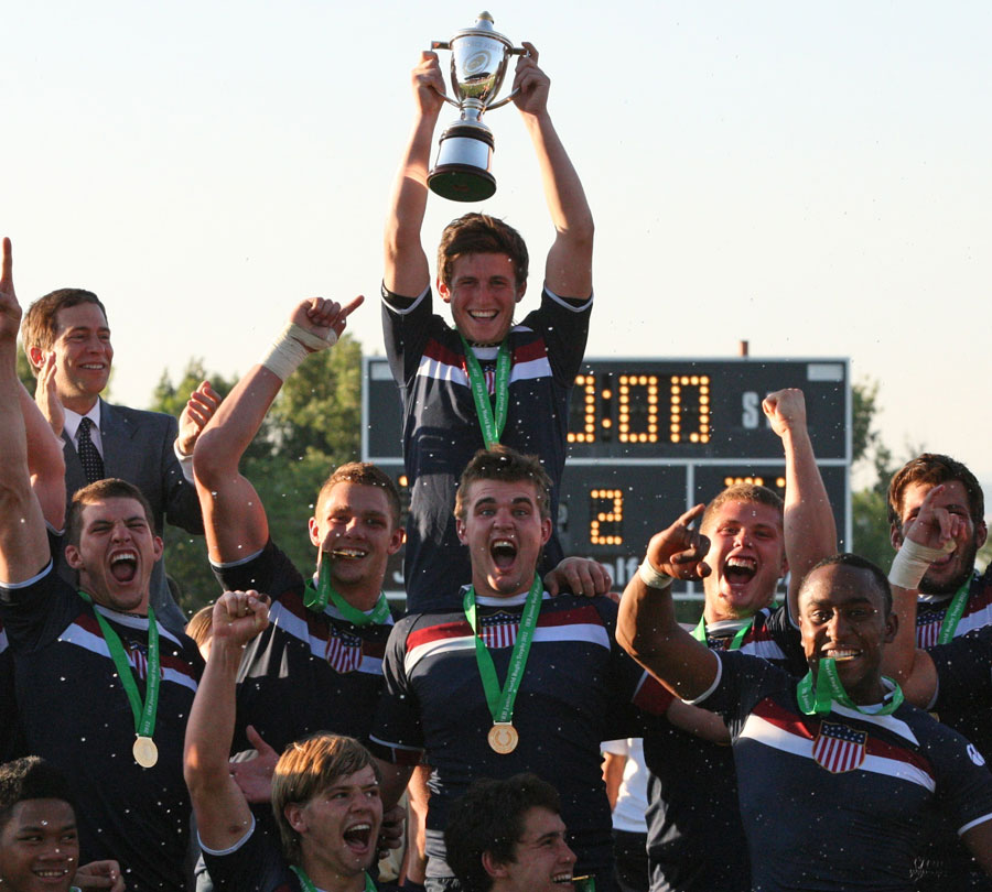 The USA celebrate winning the IRB Junior World Trophy