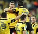 The Hurricanes' celebrate their last gasp win over the Chiefs