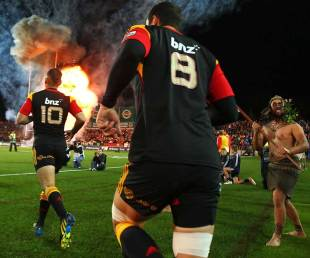 Aaron Cruden leads the Chiefs onto the field