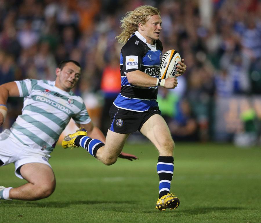 Bath's Tom Biggs evades the London Irish defence