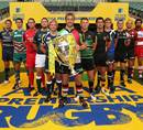 Harlequins skipper Chris Robshaw and the team captains pose with the Aviva Premiership trophy