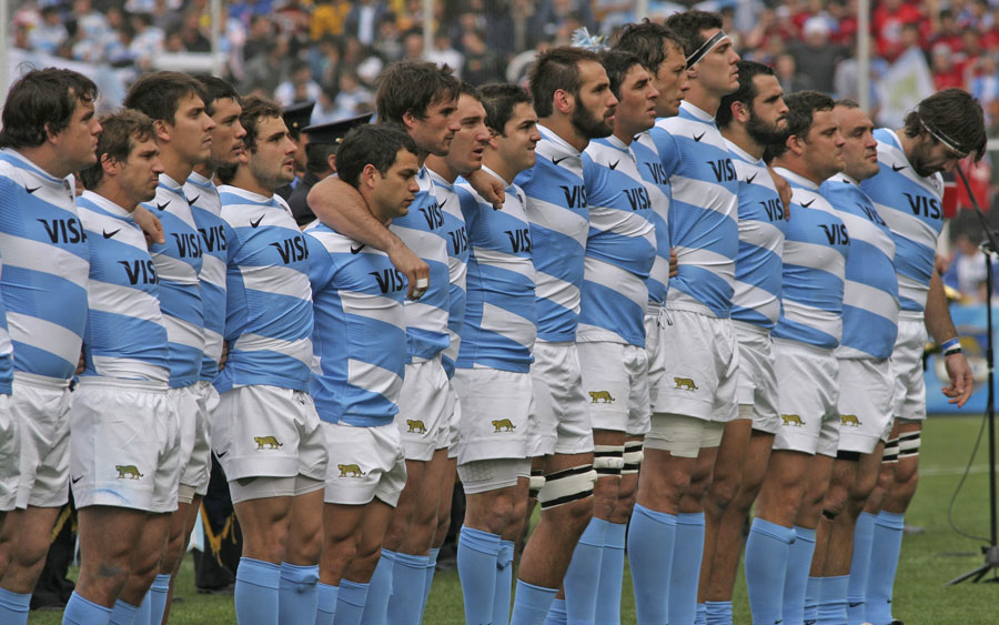 Argentina line up for their national anthem