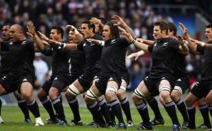 The New Zealand team perform the Haka
