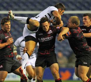 Edinburgh's Nick de Luca tackles Zebre's Giovanbattista Venditti