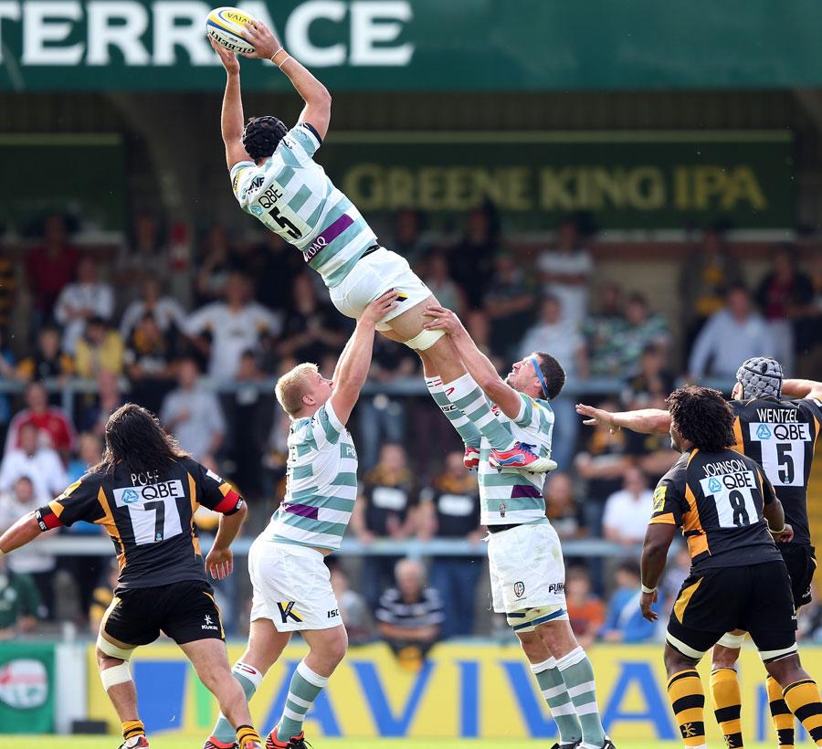 London Irish's Bryn Evans plucks a lineout ball