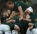South Africa's Andries Bekker finds himself on top of the ruck