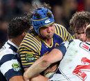 Otago's Tom Franklin finds no way through the Auckland defence