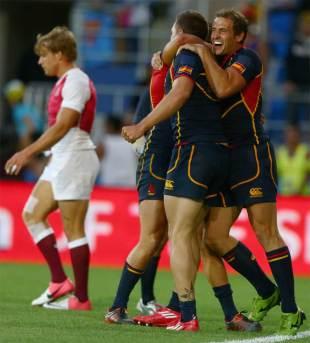 Spain celebrate their Bowl Final triumph over England, Gold Coast Sevens, IRB Sevens World Series, Skilled Park, Robina, Australia, October 14, 2012