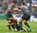 Leicester's Manu Tuilagi is shackled by the Toulouse defence