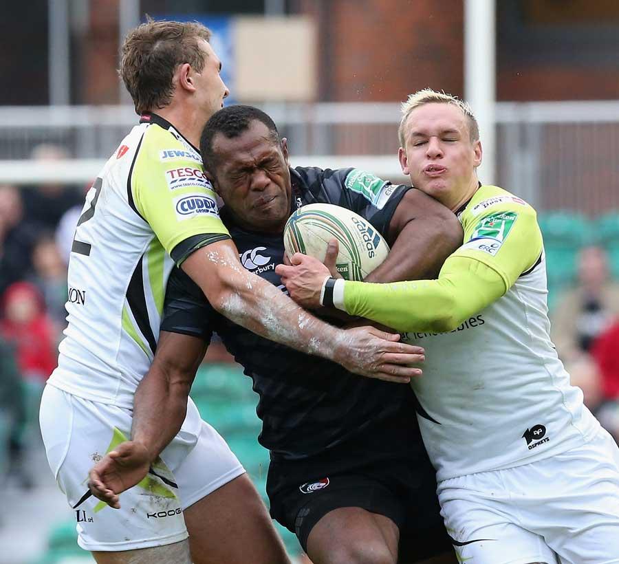 Leicester's Vereniki Goneva finds it hard going against the Ospreys