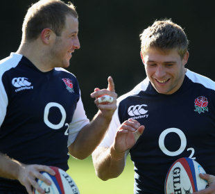 England's David Paice and Toby Youngs share a joke