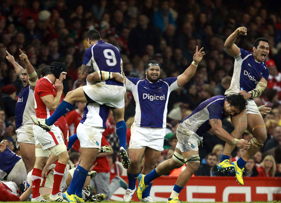 Samoa celebrate a famous win over Wales