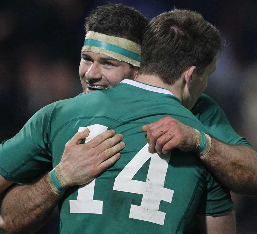 Ireland's Fergus McFadden congratulates Craig Gilroy