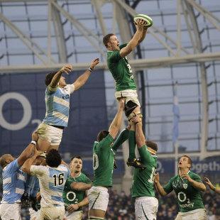Ireland's Donnacha Ryan claims the lineout ball, Ireland v Argentina, Aviva Stadium, Dublin, Ireland, November 24, 2012