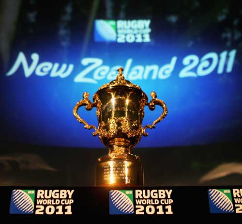 The William Webb Ellis Trophy pictured prior to the IRB Rugby World Cup 2011