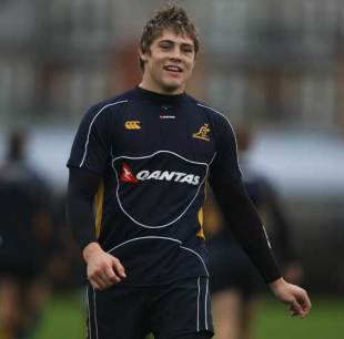 James O'Connor pictured during the Wallabies training session at Latymer Upper School London, England on November 10, 2008.