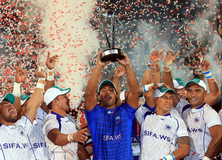 Samoa celebrate winning the Dubai Sevens title