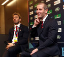 England coach Stuart Lancaster and captain Chris Robshaw at the World Cup draw
