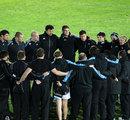 Glasgow enjoy an on-pitch team talk