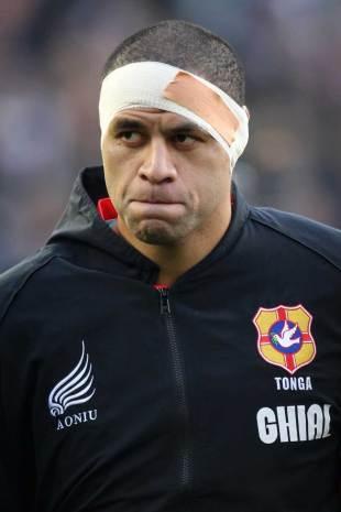 Tonga's Lua Lokotui watches on, Scotland v Tonga, Pittodrie Stadium, Aberdeen, Scotland, November 24, 2012