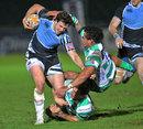 Glasgow's Alex Dunbar shrugs off the Treviso defence