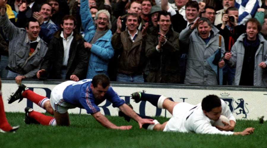 England's Rory Underwood crashes over