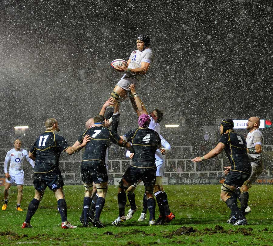 England's Graham Kitchener rises above the Scottish lineout