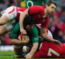Wales' Dan Biggar attempts to stop Ireland's Sean O'Brien