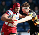 Gloucester's Sione Kalamafoni fends off Wasps' James Cannon
