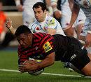 Saracens' Mako Vunipola dives over to score against Exeter